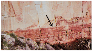 View of the contact between the Coconino Sandstone (above) and the Hermit Shale (below) in the Grand Canyon