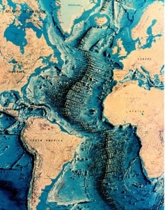 Topographical map of the Atlantic Ocean Floor