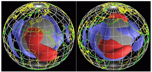 Two isosurfaces of seismic wave speed from global seismic tomography